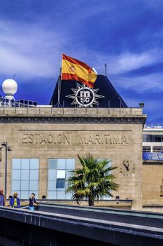 Maritime Station and MSC Sinfonia's chimney in the background in Vigo, Spain
