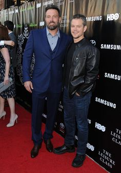 "Actors Ben Affleck and Matt Damon attend the Project Greenlight Season 4 Winning Film premiere ""The Leisure Class"" presented by Matt Damon, Ben Affleck, Adaptive Studios and HBO at The Theatre at Ace Hotel on August 10, 2015 in Los Angeles, California."