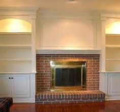 built in bookcases around brick fireplace - Bing Images