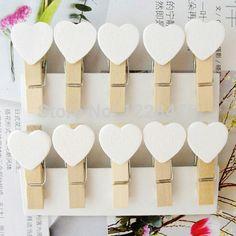 10 Unids/lote Nuevo Regalo Especial Lindo de La Manera Del color blanco Del Corazón Clip De Madera de Mini Clip de Papel Clip de madera clavijas