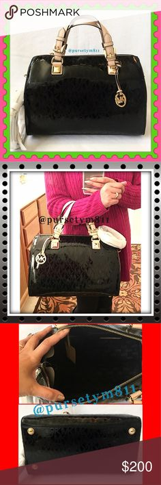 """Authentic Michael Kors Black Mirrored Bag 100% AUTHENTIC! Beautiful classic logo black mirrored LARGE bag from Michael Kors! Crossbody, top handle & shoulder bag. Approximate measurements: Length 13 1/2"""" Height 9"""" Width 7 1/2""""w/ adjustable & detachable strap. Gold tone hardware. Zipper top closure w/ 5 interior pockets. Bottom feet for protection. GORGEOUS! Michael Kors Bags"""