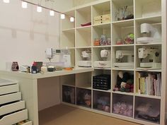 a pull out table from the cabinets near the stretch of windows in the dining area --- --- from Craft room inspiration Sewing Spaces, My Sewing Room, Sewing Rooms, Sewing Room Organization, Craft Room Storage, Craft Rooms, Ikea Craft Room, Storage Ideas, Space Crafts
