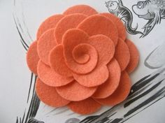 Wool felt flower hair clip or headband in salmon Mia by PolkaTods Felt Flowers, Diy Flowers, Flowers In Hair, Fabric Flowers, Paper Flowers, Felt Diy, Felt Crafts, Fabric Crafts, Diy Crafts