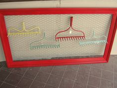 """""""Flea Market Chic"""" Vintage Chicken Wire Red Picture Frame ($59.95) & Painted Rake Heads ($16.50 each), These are  wonderful for displaying jewelry!  Can be seen at the Promise Land Antique Mall @ 721 Kihekah Ave. Pawhuska, OK or call 918-287-9120 or go to Promise Land Antique Mall on facebook!"""