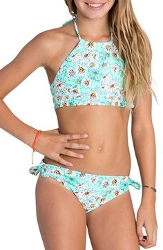 Billabong 'Fancy Floral' High Neck Two-Piece Swimsuit (Little Girls & Big Girls)