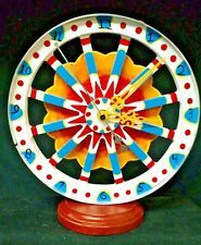 HAND MADE CIRCUS WAGON WHEEL CLOCK,HAND PAINT,GYPSY,CARNIVAL,AMUSEMENT,SIDESHOW