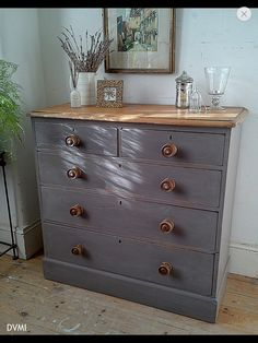 Grey painted chest