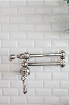 Chrome pot filler with beveled subway tile backsplash Herringbone Backsplash, Mosaic Backsplash, Kitchen Backsplash, Backsplash Ideas, Backsplash Wallpaper, Backsplash Design, Beadboard Backsplash, Countertop, Kitchen Sink