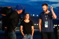 LRClint Bowyer driver of the 5hour Energy Toyota Danica Patrick driver of the GoDaddy Chevrolet and television personality Joel McHale rehearse for a...