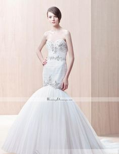 Fashion Trumpet/Mermaid Sweetheart Floor-length Chapel Appliques Wedding Dresses at ShopSimple.com