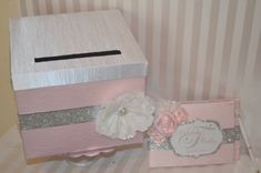 """Light Pink Wedding Card Box- The """"Sabrina""""-Light Pink and Bling Custom Card box and Guest Book, Order Yours Today on Etsy, $87.20"""
