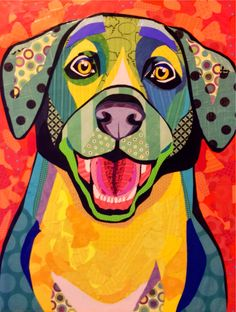 """Scrapbook paper collage dog art, """"Yay,You're Home!"""", by Laura Yager Dog Quilts, Animal Quilts, Animal Drawings, Art Drawings, Quilt Modernen, Paper Animals, Dog Paintings, Chalk Art, Dog Portraits"""