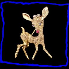 Rudolph+the+Red+Nosed+Reindeer+Gold+Plated+Sterling+Silver+Pin+Vintage+1950s