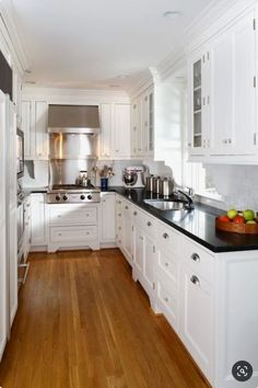 White Kitchen Cabinets with Black Countertops. 20 White Kitchen Cabinets with Black Countertops. White Kitchen Cabinets Black Countertops and White Subway Galley Kitchen Design, Small Galley Kitchens, Galley Kitchen Remodel, Black Kitchens, Home Kitchens, Kitchen Black, Kitchen Remodeling, Black Granite Kitchen, Remodeling Ideas