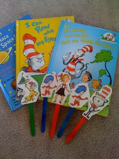 Freebie Dr. Seuss stick puppets to go along with a few of his books.