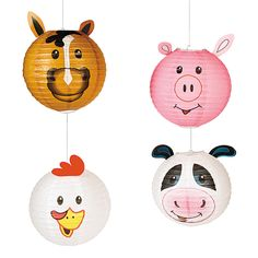 Farm Party Paper Hanging Lanterns - OrientalTrading.com