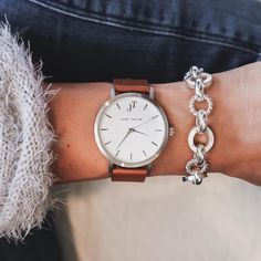 THE BYRON watch style. Silver and tan style. #johntaylorwatches. Unisex watch. Watch style. Women's watch style.
