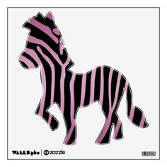 Pink and Black Zebra Wall Decal