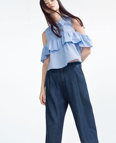 FRILLED POPLIN SHIRT-View All-TOPS-WOMAN | ZARA United States
