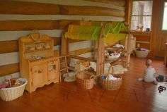 Elves and Angels Natural Wooden Play Kitchen - lovely Waldorf playroom via Neen's Reverie