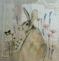 Textile art hare vintage lace mixed media free motion embroidery applique by Emily henson www.facebook.com/bibliboo