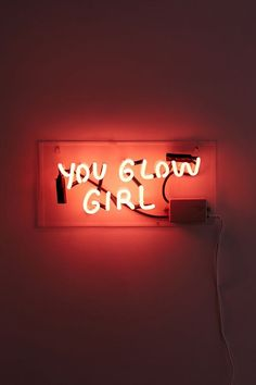 Shop Amber Ibarreche UO Exclusive You Glow Girl Neon Sign at Urban Outfitters today. We carry all the latest styles, colors and brands for you to choose from right here. Orange Aesthetic, Neon Aesthetic, Aesthetic Collage, Photo Wall Collage, Picture Wall, Neon Quotes, Neon Led, Neon Words, Neon Wallpaper
