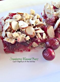 Cranberry Almond Bars - Can't Stay Out of the Kitchen