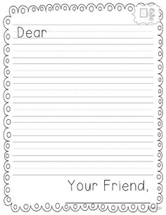 Letter writing paper for 2nd grade valentine s day for Letter writing template for first grade