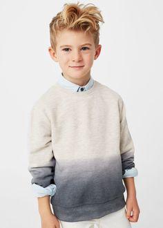 Ombré plush cotton sweatshirt - Kids | MANGO Kids United Kingdom