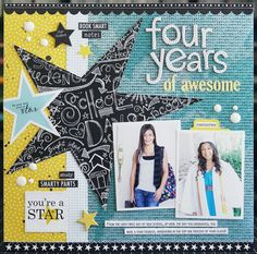 As the school year comes to an end, why not play with all this year's images? Get them printed today and create this awesome school year layout. Our Star Student collection™ is great for scrapbook pages, end of the year. Senior Scrapbook Ideas, Graduation Scrapbook, School Scrapbook Layouts, Album Scrapbook, Scrapbook Sketches, Scrapbooking Layouts, Scrapbook Paper, Birthday Scrapbook, Kids Scrapbook