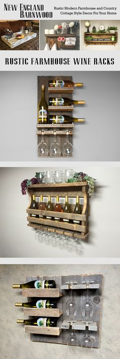 OMG!! These wooden farmhouse country cottage wine racks are so Unique, Real Barnwood, not pallet wood.  Great for my Farmhouse, Country Cottage decor!!