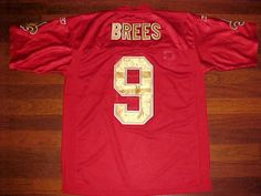 Reebok NFL NFC South New Orleans Saints Drew Brees 9 Red Gold Football Jersey 48…
