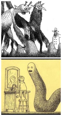 Creepy books for kids: Sticky Monsters by John Kenn Mortensen has no text - let your kids create their own stories!
