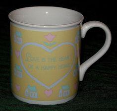 Hallmark Love Is The Heart Of A Happy Home Coffee Mug Cup Pastel 9oz #DH90 #Hallmark