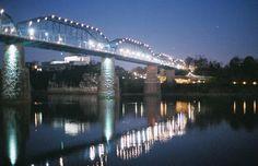 Walnut Street Bridge at night.
