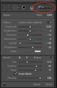 Using Lightroom Brushes to Soften Skin
