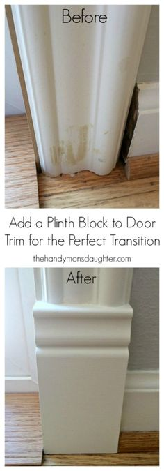 Diy Home : Illustration Description Stumped on how transition between your baseboards and door trim? Add a plinth block! This simple architectural detail is easy to install and will totally change the look of your doors. -Read More – Easy Home Decor, Cheap Home Decor, Home Improvement Projects, Home Projects, Home Renovation, Home Remodeling, Kitchen Remodeling, Remodeling Companies, Remodeling Contractors