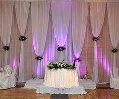 blue/green lighting instead Wedding Stage Backdrop, Wedding Draping, Church Wedding Decorations, Backdrop Decorations, Backdrop Ideas, Luxury Wedding Decor, Pipe And Drape, Backdrop Design, Wedding Scene