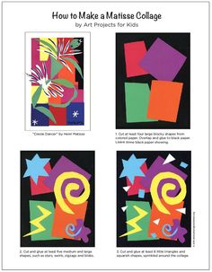Make a Matisse style collage with my PDF tutorial. Henri Matisse Art Lesson - Cut Paper Collage - Art Projects for Kids - Henri Matisse, Matisse Kunst, Matisse Art, Collage Kunst, Collage Art, Kids Collage, Kindergarten Art, Preschool Art, 3rd Grade Art