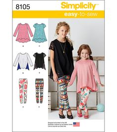 Sewing Projects For Children Simplicity Patterns Children - 7 - 8 - 10 - 12 - 14 - Easy-to-Sew knit tunics and leggings sized for child and girl are must have essentials. Make tunic and leggings in a multitude of colors Sewing Patterns For Kids, Simplicity Sewing Patterns, Sewing For Kids, Clothing Patterns, Dress Patterns, Sewing Ideas, Sewing Clothes, Diy Clothes, Kids Sportswear
