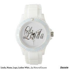Linda, Name, Logo, Ladies White Sports Watch. Wrist Watch
