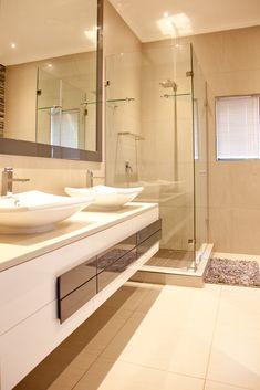 162 on Sunbird - Crontech Consulting Large Bathroom Mirrors, Bathroom Vanity Designs, Modern Bathroom Design, White Bathroom, Property Development, Design Development, Grey Floor Tiles, Interior Architecture, Interior Design