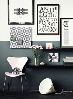 Half painted walls. Great look. Contemporary feel in this oh-so-chic-yet-timeless palette.