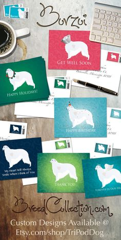 DOGS WHIMSICAL DOGS theme blank note cards Set of 8.
