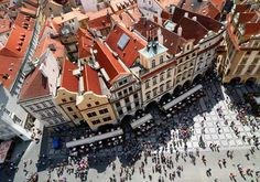 Old town square.  I got my mother's garnet earrings from the shop located in the yellow building at the top right of this picture. (The Astronomical clock would be directly across from the yellow building to the slight left of center here)