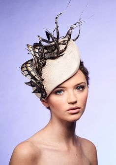 Designer Wedding Headwear Curled Pheasant Feathers