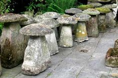 Item no 1261 two similar cotswold stone staddle stones each with staddle stones have been used since medieval times to keep hay ricks and granaries off wet ground and to thwart rodents now prized as historical garden workwithnaturefo
