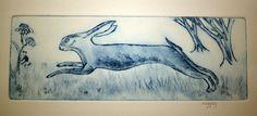 Hare Original Drypoint Print, Hare Print, Fine Art Print Running Hare, Nursery Print