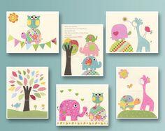 Nursery print Baby girl Room Decor Nursery Art Set por DesignByMaya, $87.00