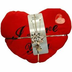 A warm worded gift set, including a 2 Sided Worded Love Necklace On an Belcher Chain,together with large plush heart cushion.